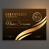 Elegante diseño de certificado premium en color dorado.