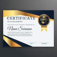 modelo de certificado com vetor de formas de ouro e preto