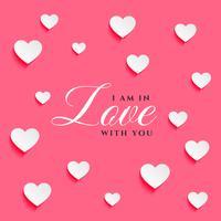rosa Liebeshintergrund mit weißen Herzen für Valentinstag