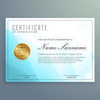 projeto de certificado de diploma de vetor com formas modernas azuis