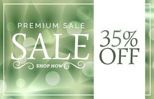 Banner de venta premium verde o plantilla de diseño de cupón con oferta
