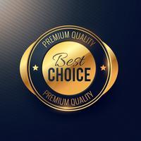 bästa valget gyllene etikett och märkesdesign för högsta kvalitet