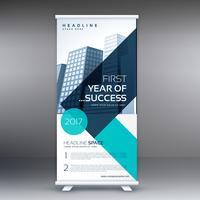 elegant blue geometric standee roll up business banner design te