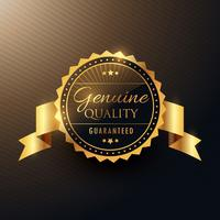Echtes Qualitäts-Award Golden Label-Badge Design mit Band