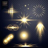 destellos de lentes efecto de luz transparente destellos diseño