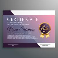 modelo de certificado com símbolo de prêmio
