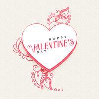 Doodle stijl hart met decoratie voor Valentijnsdag