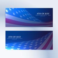 set of banners with american flag
