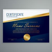 Plantilla de certificado moderno de lujo en color azul y dorado