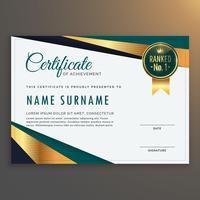 design de vetor de modelo de certificado moderno premium