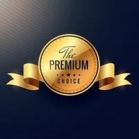design de rótulo dourado de vetor de escolha premium