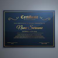 premium blauwe certificaatsjabloonontwerp in gouden stijl