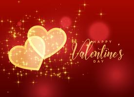 golden sparkles hearts on red background for valentine's day