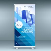 blue elegant roll up banner template for marketing and advertisi