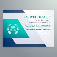 modelo de design certificado azul no estilo de forma geométrica