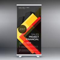 dark standee roll up banner design with yellow abstract shapes