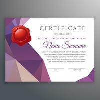Plantilla de diseño de certificado creativo con sha de poli baja geométrica