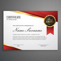 certificado criativo de modelo de prêmio em vermelho e g