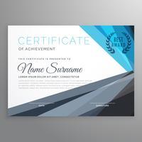 certificado creativo de la plantilla de diseño de logros en azul y
