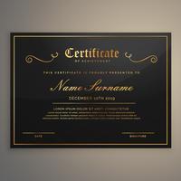 certificat d'appréciation noir et doré