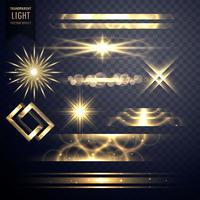 Conjunto de destellos de luz brillos efecto y destellos de lentes.