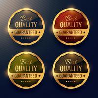 beste kwaliteit gegarandeerd premium gouden label en badges vector des
