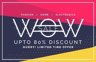 wow försäljning och rabattkupong banner i platt stil