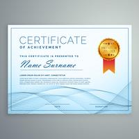 abstract certificate award design tempate with blue wavy shapes