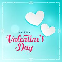 härlig blå valentins dag bakgrund med vita hjärtan
