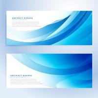 conjunto de bandeiras azuis onduladas abstrata