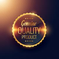 äkta kvalitetsprodukt premie gyllene etikett märkesdesign