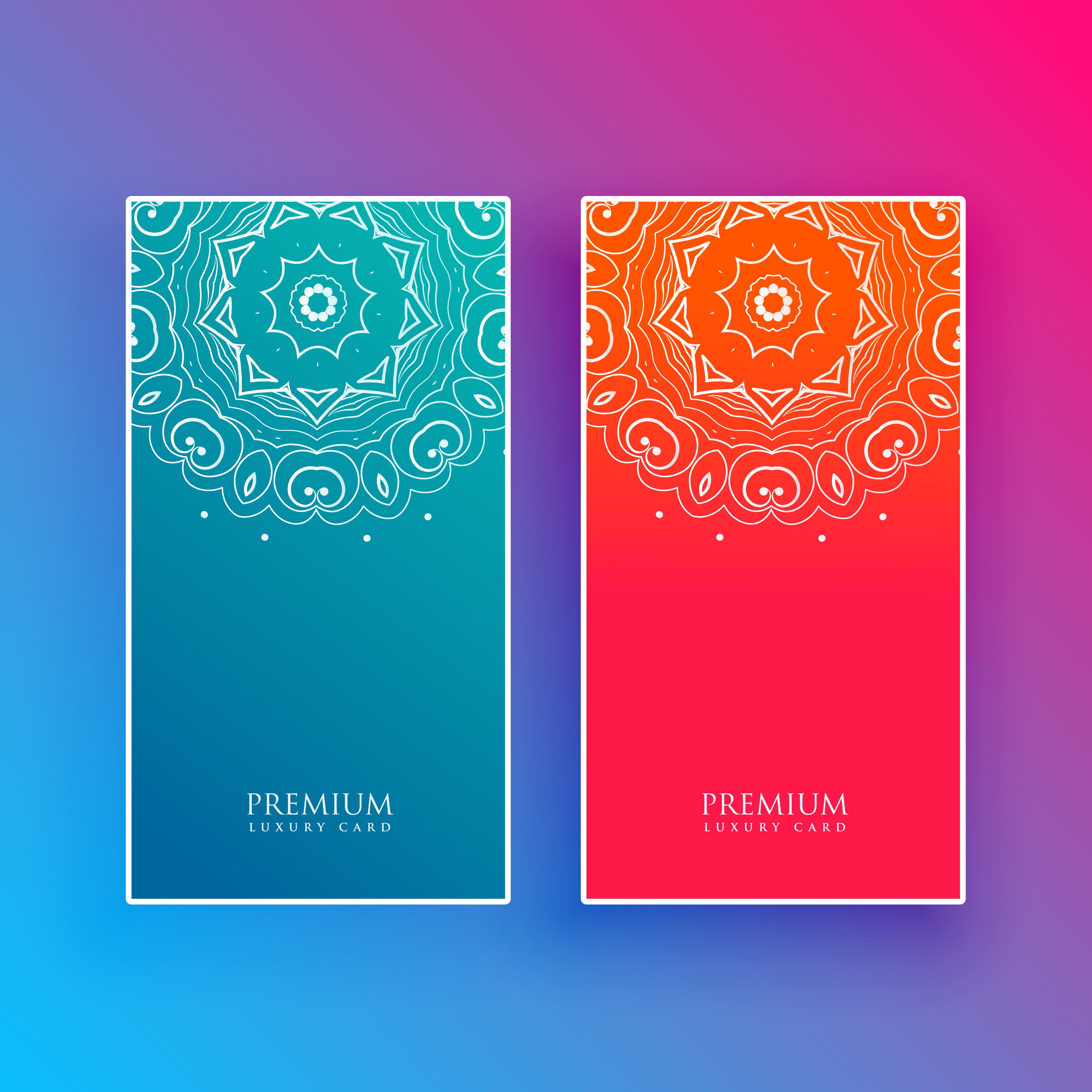 bright mandala banners in blue and red colors - Download Free Vector ...