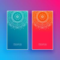 bright mandala banners in blue and red colors