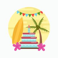 Vetor de festa de aniversário polinésio