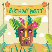 Polynesian Birthday Party with Tiki Element Vector