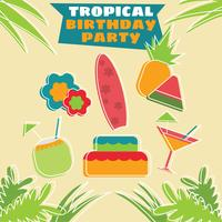 Tropical Birthday Party Icons vector