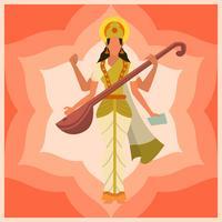 Flat Saraswathi Vector Illustration