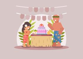 Ilustración de fiesta de cumpleaños de tema polinesio