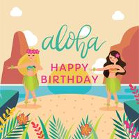 Polynesian Dancer Birthday Party Vector