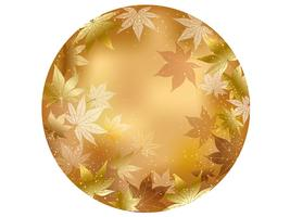 Gold, circular autumn background illustration.