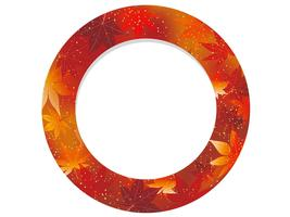 Red, circular frame with autumn graphic pattern.