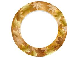 Gold, circular autumn frame.