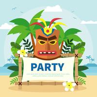 Polynesian Mask On Birthday Party Banner  vector