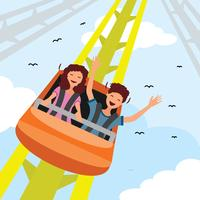 Rollercoaster In Amusement Park vector