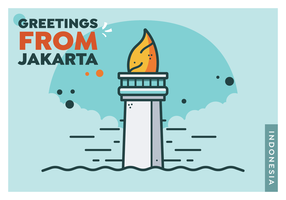 Jakarta Postcard Vector