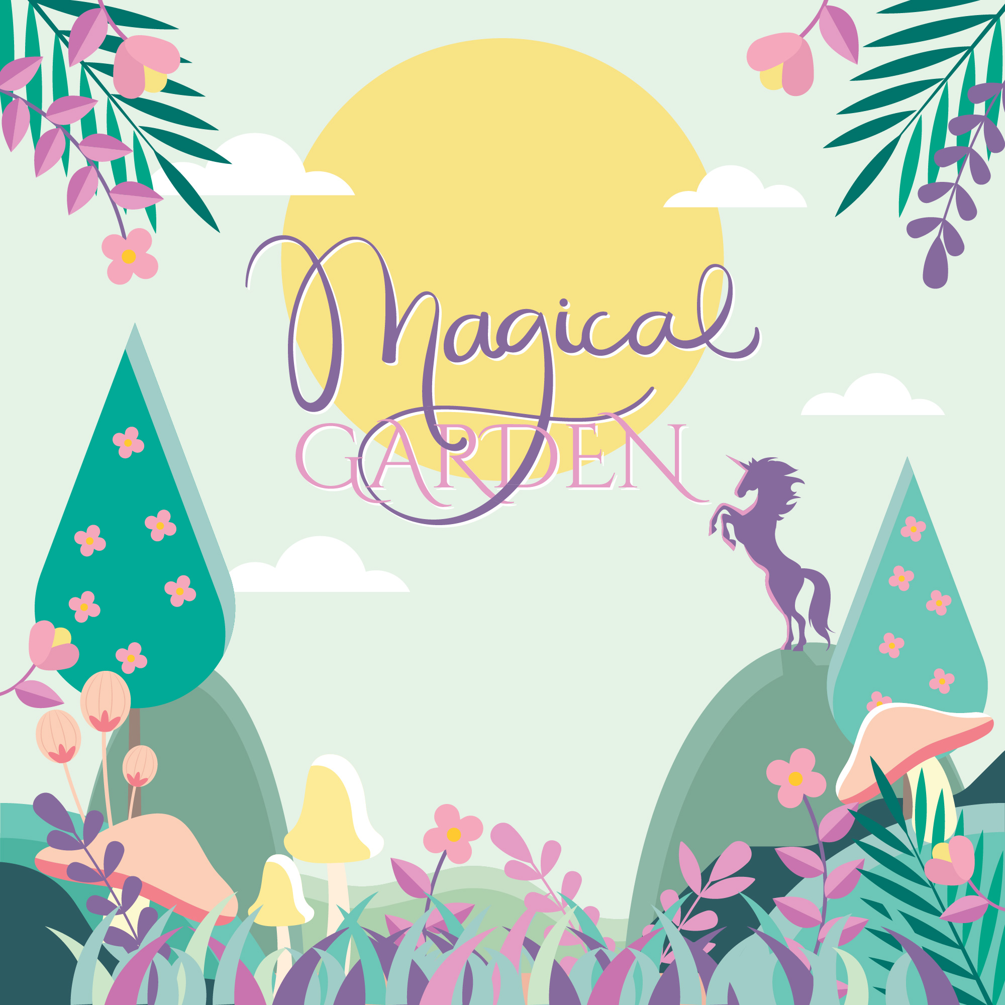 Colourful Magical Garden Illustration Vector , Download Free