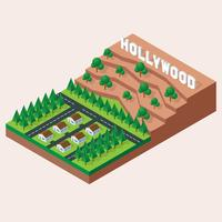 Isometrische Hollywoodland-Zeichen-Illustration