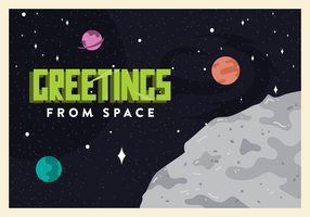 Outer Space Postcard Vector