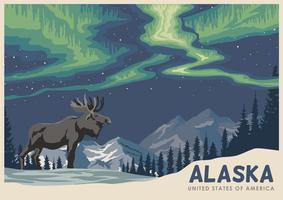Cartão De Alaska Com Alces vetor