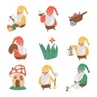 Gnomes From The Magical Garden vector